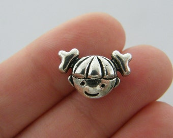 50 Spacer beads antique silver tone FS242