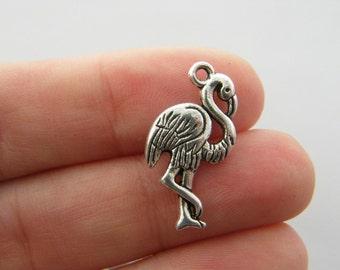 BULK 50 Flamingo charms antique silver tone B198