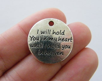 4 I will hold you in my heart  charms antique silver tone M954