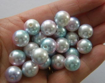 100 Blue brown and white 10mm gradient mermaid acrylic beads AB576