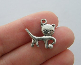 12 Cat charms antique silver tone A852
