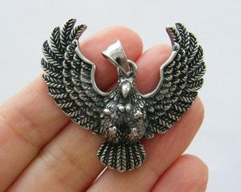 1 Eagle hawk bird pendant antique silver tone stainless steel B98