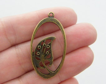 14 Palm tree charms antique bronze tone BC109