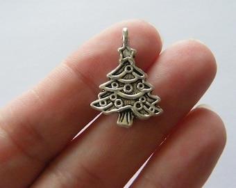6 Christmas tree pendants antique silver tone CT240
