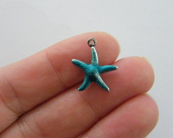 ZX16135 Starfish Packet of 30 x Antique Silver Tibetan 17mm Charms Pendants - Charming Beads -