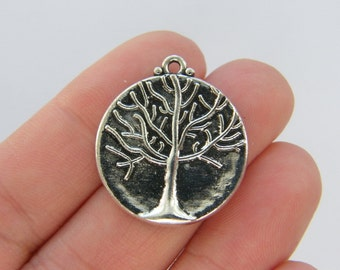8 Tree charms antique silver tone T54