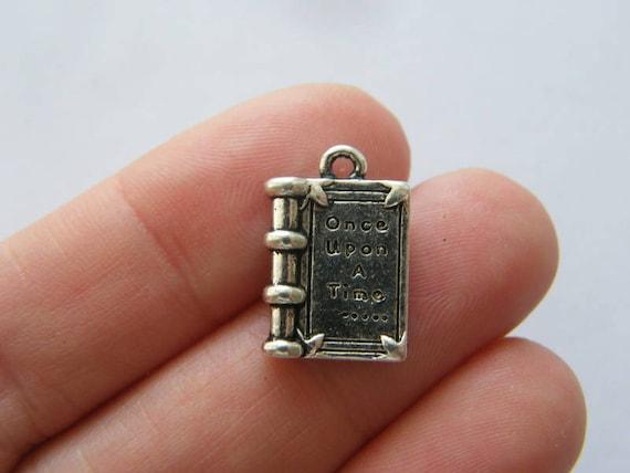 book pendants antique silver tone PT106 BULK 30 Once upon a time ..