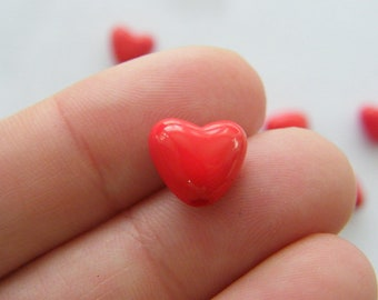 50 Acrylic  red heart beads AB16
