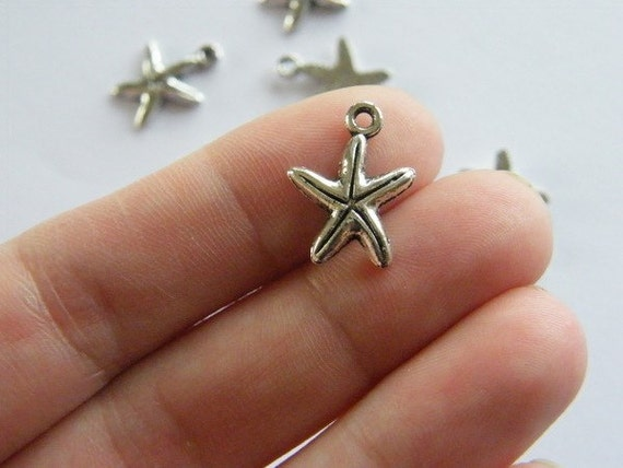 14pcs tibetan silver tone 2sided studded star charms EF1923
