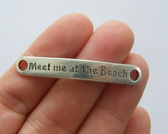 4 Meet me at the beach connector charms antique silver tone SC28