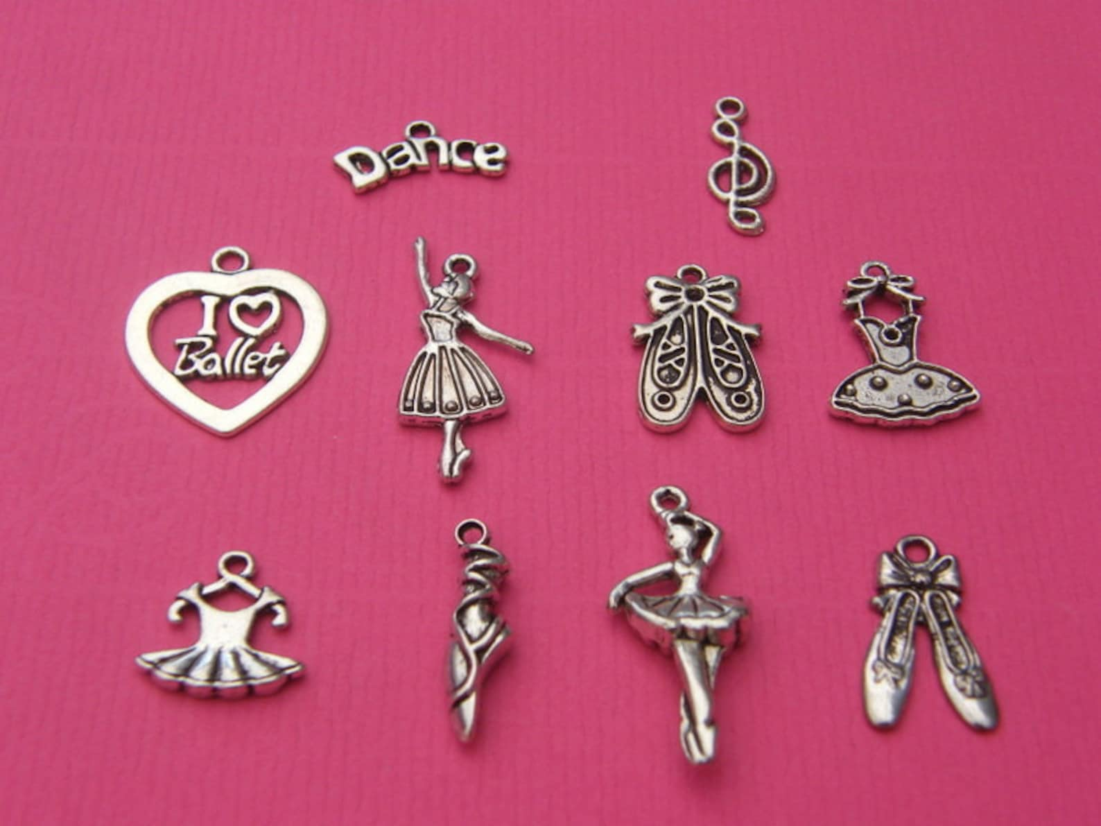 the ballet charms collection - 10 different antique silver tone charms
