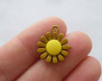 4 Flower charms mustard and yellow tone F128