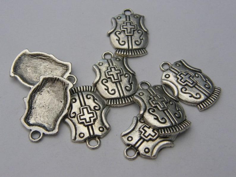 BULK 30 Breastplate charms antique silver tone SW36