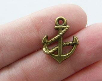10 Anchor charms antique bronze tone BC24