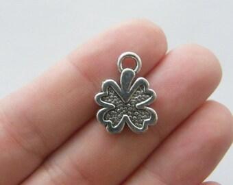 10 Four leaf clover charms 20 x 15mm antique silver tone L39