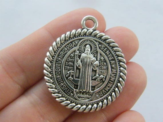 2 St Benedict charms antique silver tone R107