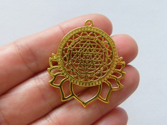 1 Flower of life lotus Sri Yantra charm gold tone GC153