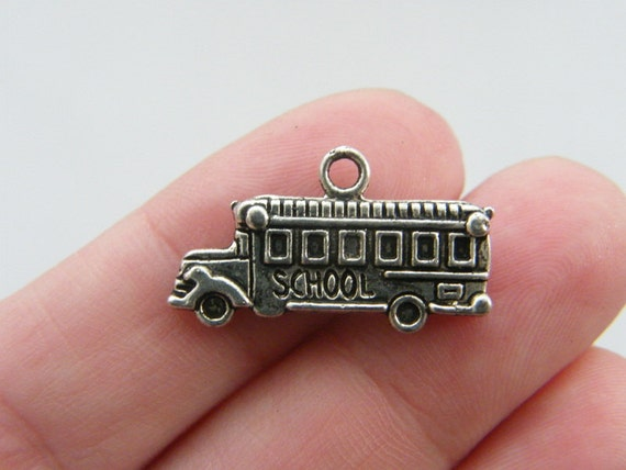 BULK 50 School bus charms antique silver tone TT60