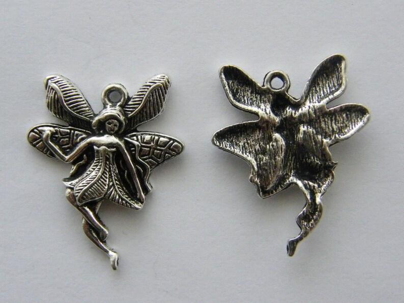 BULK 20 Fairy charms antique silver tone FB48