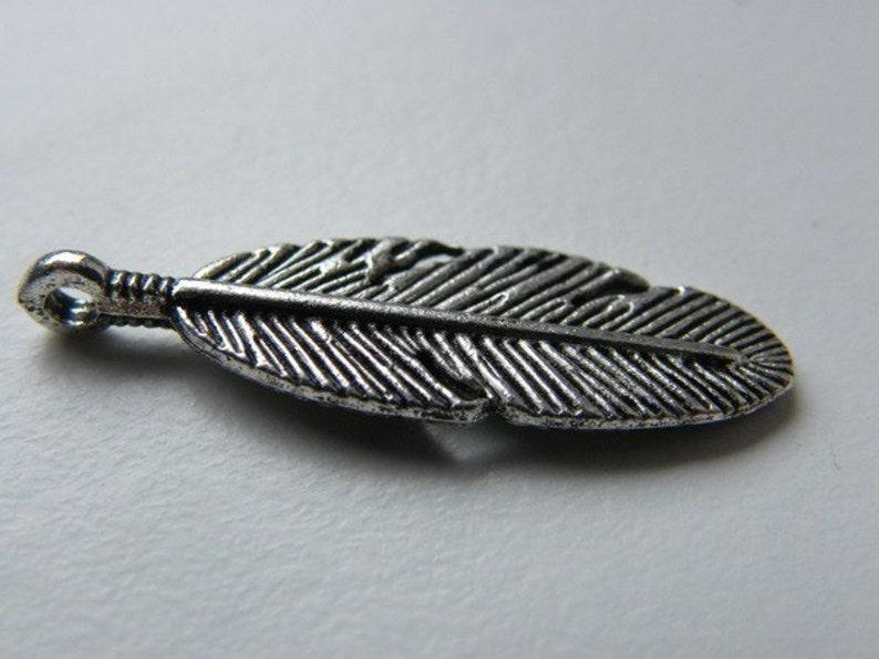 BULK 50 Feather charms antique silver tone B220