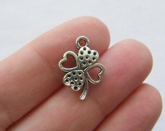 10 Four leaf clover charms antique silver tone L72