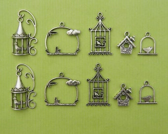 The Bird Cage Collection - 10 antique silver tone charms