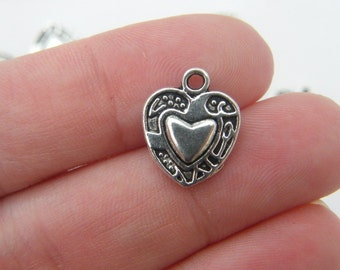 8 Heart charms antique silver tone H18