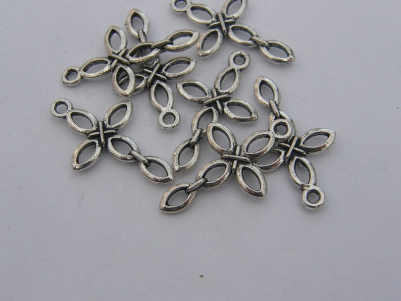 BULK 50 Cross charms antique silver tone C1