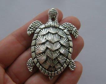 1 Turtle pendant antique silver tone FF192