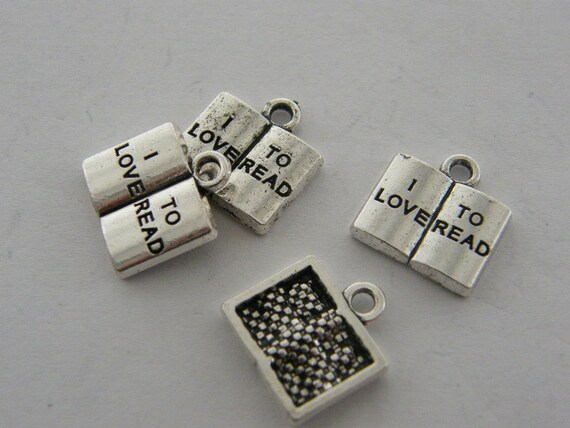 4 I love to read book charms antique silver tone PT81