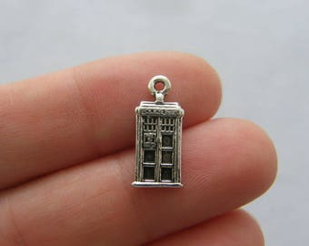 8 Telephone booth charms antique silver tone PT114
