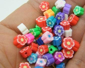 30 Flower beads  6mm random mixed polymer clay F185