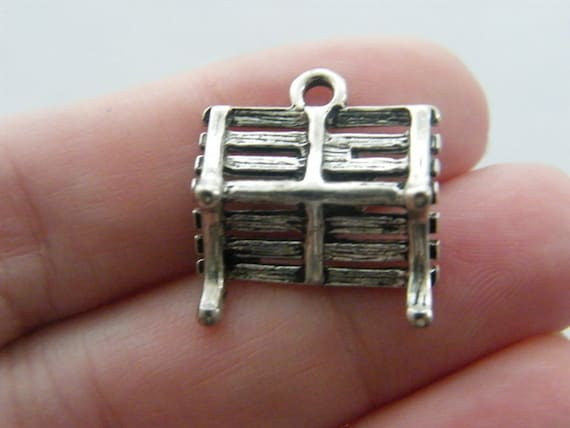 14 Heart connector charms antique silver tone H190