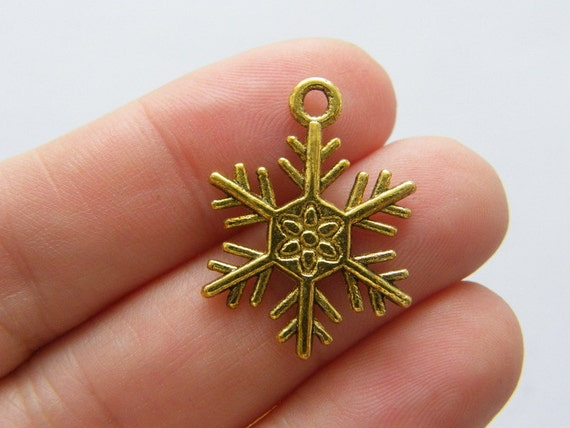 BULK 50 Snowflake charms antique silver tone SF3