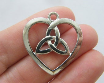 4 Celtic knot heart charms silver tone R153