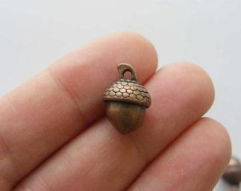 6 Acorn charms antique copper tone L89