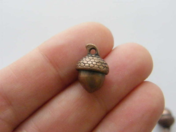BULK 50 Acorn charms antique silver tone L190