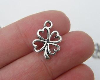 10 Four leaf clover charms antique silver tone L42