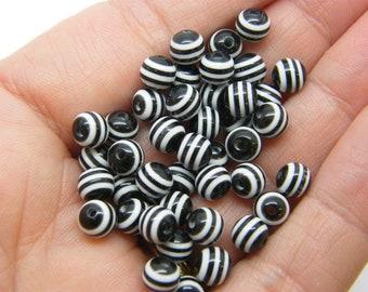 100 Black white striped beads 6mm resin AB595