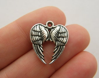 4 Pair of angel wing charms antique silver tone AW113