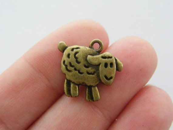 BULK 50 Sheep charms antique bronze tone BC216
