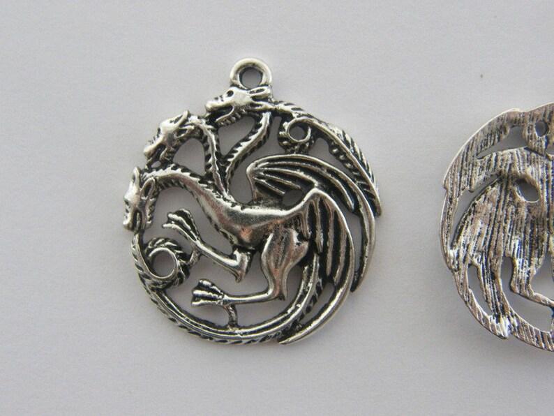 BULK 20 Three headed dragon charms antique silver tone A75