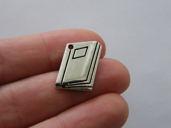 8 Note book charms antique silver tone PT24