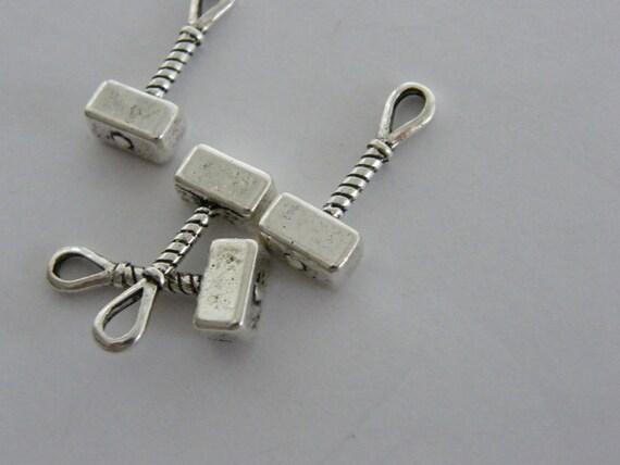 BULK 30 Mjolnir hammer  charms antique silver tone SW51