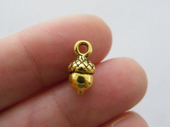 BULK 50 Acorn charms antique silver tone L164