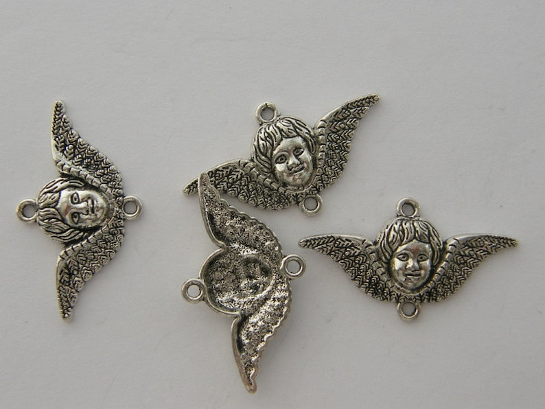 BULK 30 Angel connector charms antique silver tone AW148