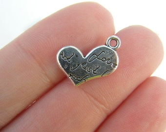 10 Heart charms antique silver tone H56