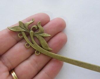 1 Flower bookmark 155mm antique bronze tone BM2
