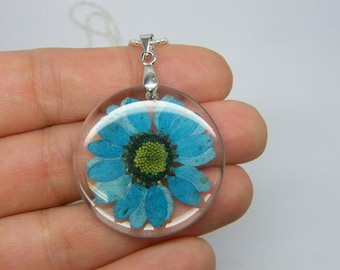 1 Blue dried flower resin pendant silver plated tone NB17