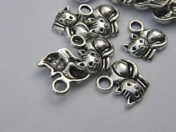 BULK 50 Cat charms antique silver tone A873